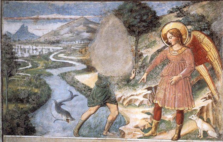 Tobias and the Fish. 1464-65 Fresco Apsidal chapel, Sant'Agostino, San Gimignano.