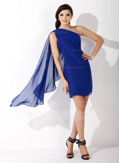 Sheath/Column One-Shoulder Short/Mini Chiffon Homecoming Dress With Ruffle (022011272)