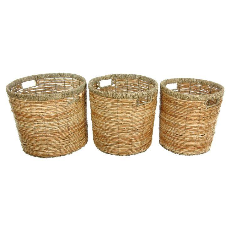 Oriental Furniture Rush Grass Waste Bin - Set of 3 - WV-1357