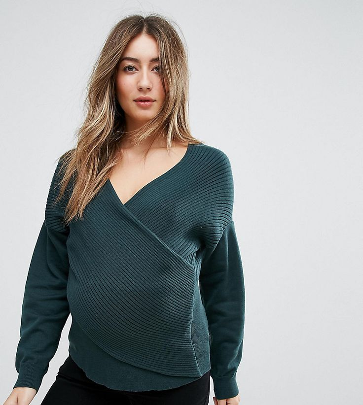 ASOS Maternity Sweater in Rib with Cross Over Front - Green