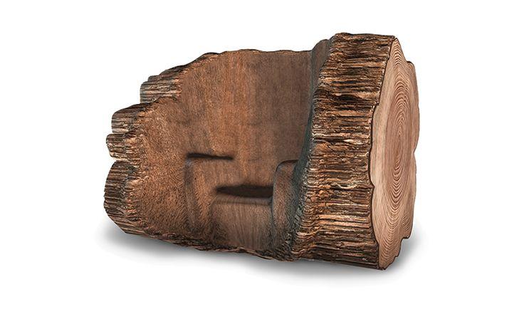 The Tree Trunk Chair - Maarten Baas.  Een boom wordt geplant en gedwongen in een betonnen mal te groeien. Na 200 jaar is de stoel klaar voor de 'oogst'. En kan de stoel/boom uit de mail worden gehaald.