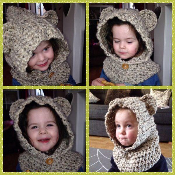 Cozy crocheted bear hood