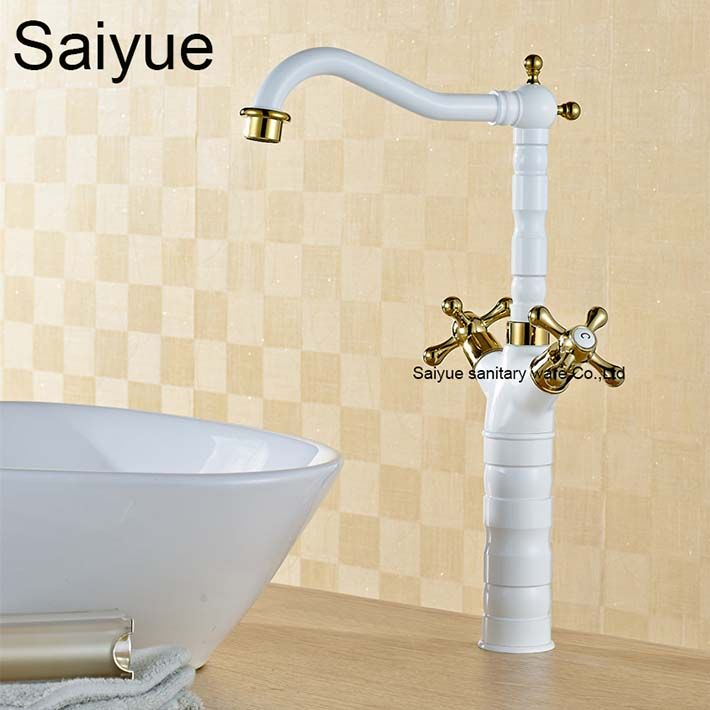 Wholesale And Retro Royal White Gold Brass Double Handle