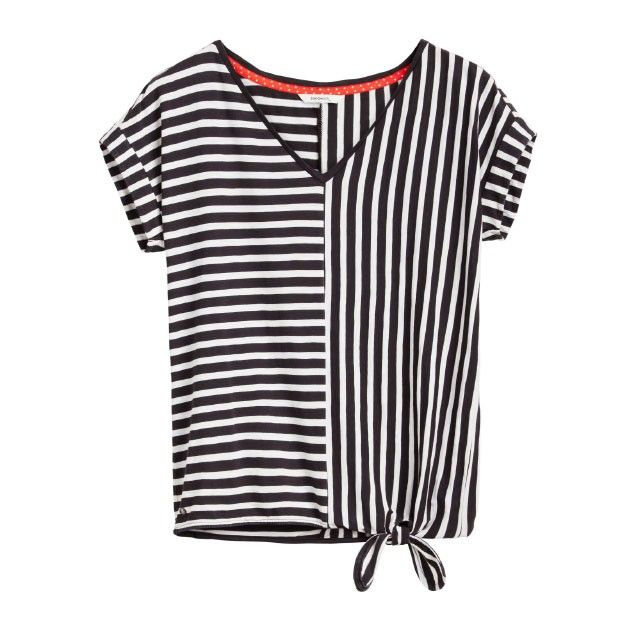 Sandwich Clothing Striped Tie Hem Top Black