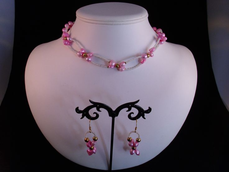 Pink freshwater pearls & gold beads, white seed beads necklace & earring set