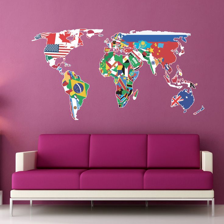 Wall Decal Flags Of The World Map Wall Sticker Wall Stickers