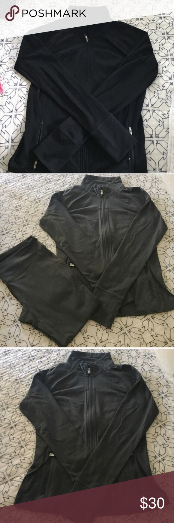 Gap Body Bundle: 2 jackets + 1 pair of pants Gap body zip up jacket in black, Gap body zip up jacket in grey, and matching Gap body capri pants in grey. All are size small. Gently worn in great condition. These jackets are a perfect dupe for the Lululemon define jacket! GAP Pants Track Pants & Joggers