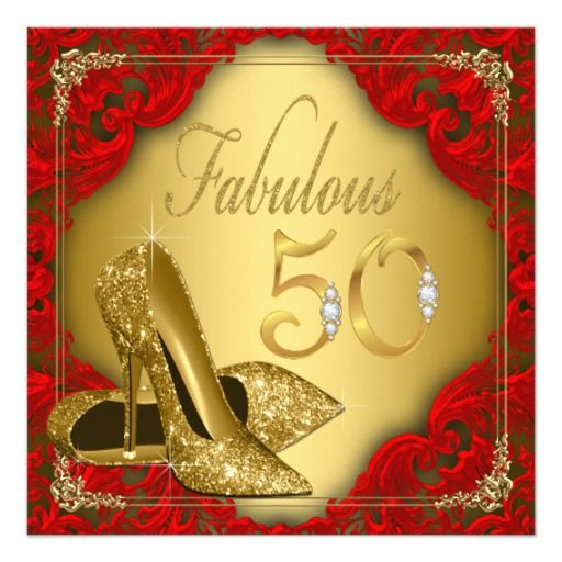 Fancy Red Gold High Heel Fabulous 50th Birthday Card