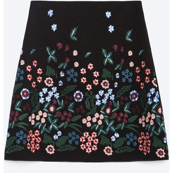 Zara Embroidered Skirt ($70) ❤ liked on Polyvore featuring skirts, black, embroidered skirt und zara skirts
