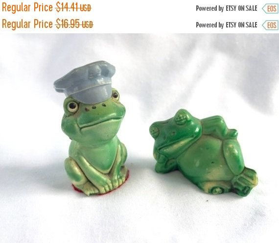 SPRING SALE Vintage Green  FROGs Two Miniature Plastic Frogs Hong Kong by StudioVintage on Etsy