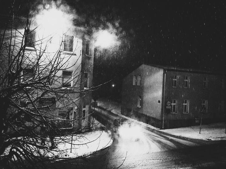#Night #winter #black #white #street #snow #snowing #car #dark