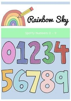 ** Free Download ** Included in this set are 10 multi-coloured numbers from 0 - 9   All .PNG files are 300 dpi for clear printing with transparent backgrounds. For personal or commercial use ~ Rainbow Sky Creations ~