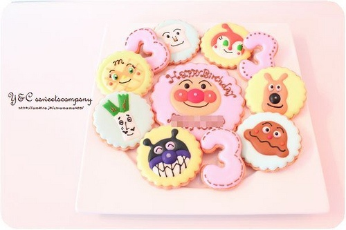 Anpanman friends cookies anpanman cake pinterest for Anpanman cake decoration