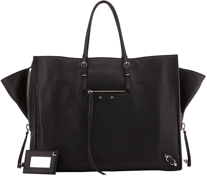 Balenciaga Papier A4 Side Zip Leather Tote Bag