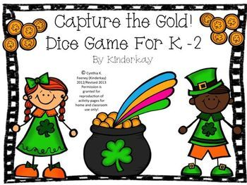 Capture the Gold Dice Game for K-2 FREEBIE!