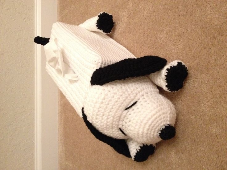 Crocheted dog tissue box cover