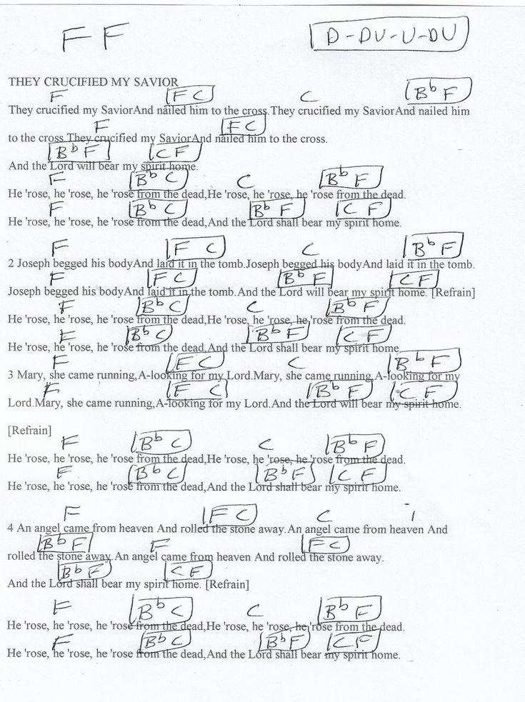 They Crucified My Savior (Hymn) Guitar Chord Chart in F