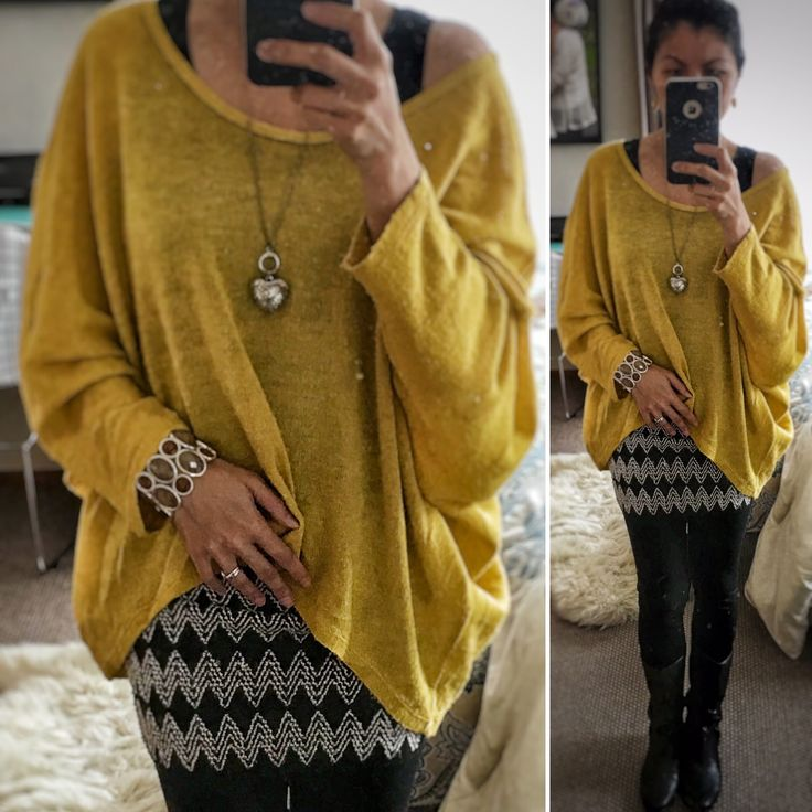 Fall fashion - Mustard oversized knit paired with tribal miniskirt.