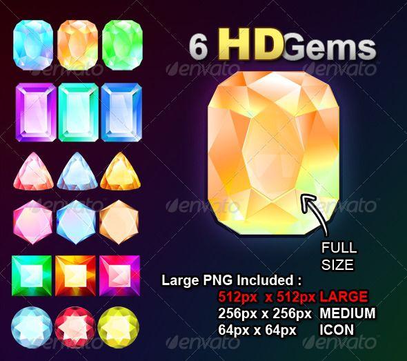 6 HD Gems - Objects Illustrations