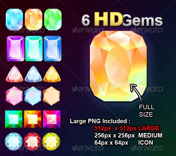 6 HD Gems - Objects Illustrations