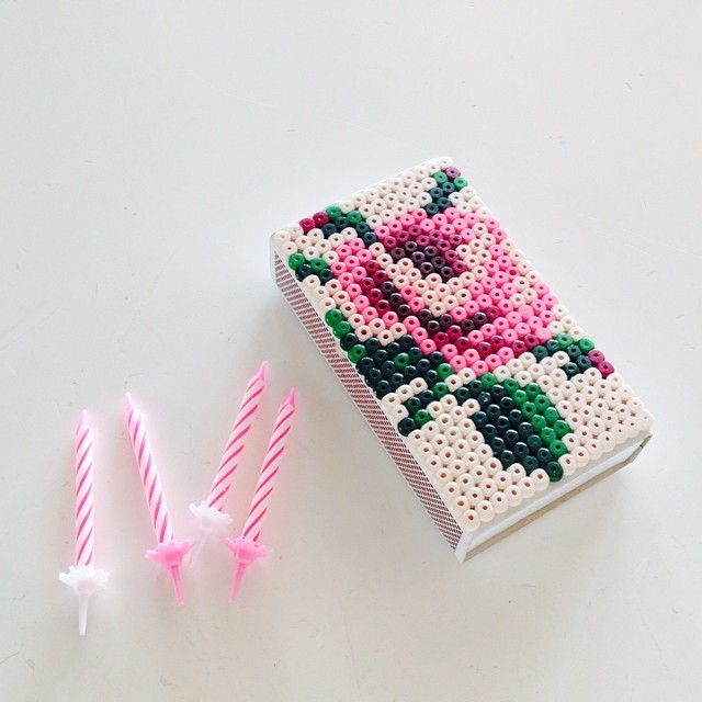 Rose flower matchbox hama beads by Lee Esselström
