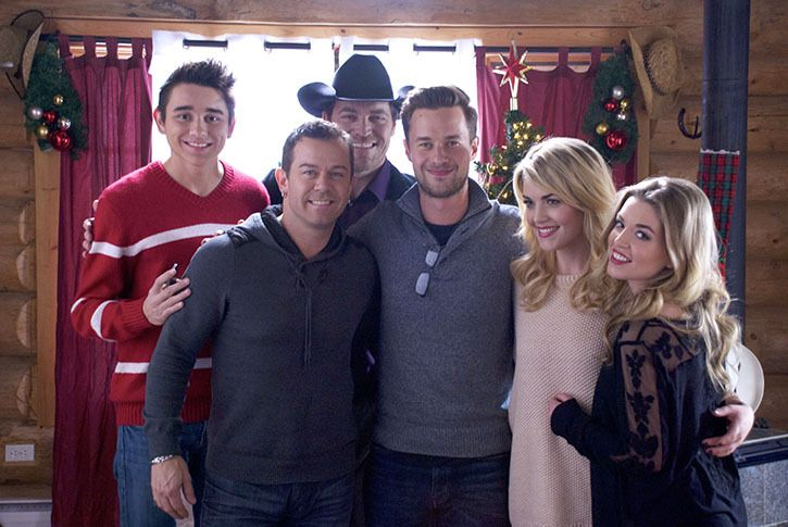 "Jordan McIntosh, Aaron Pritchett, George Canyon, and One More Girl on the set of the ""Home For Christmas"" music video shoot"