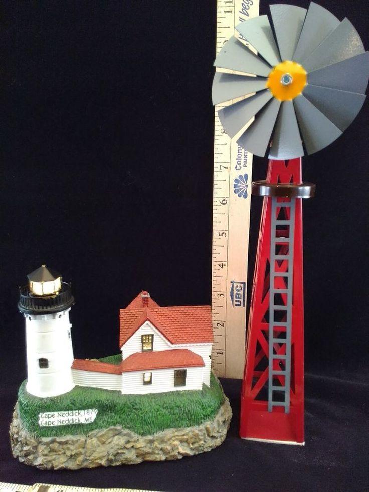 "Geo Zoltan Lefton CAPE NEDDICK,ME 1879 light House Co & Lemax Windmill 10"""