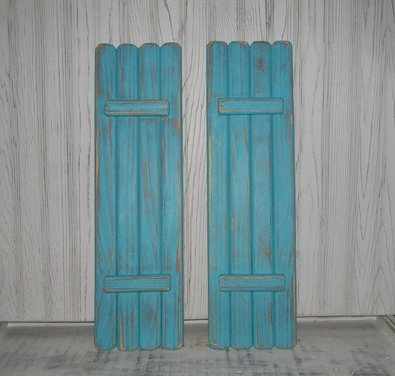 These would look great framing an interior window!  Wooden Shutters Interior Shabby Shutters by hensnesttreasures, $42.00