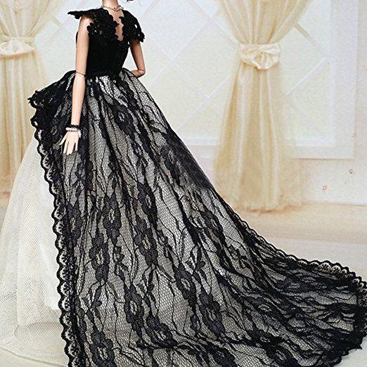 OurKosmos® Splendida partito Handmade abito Vestiti & abiti da sposa accessori bambola Barbie Doll-1PCS (Nero)