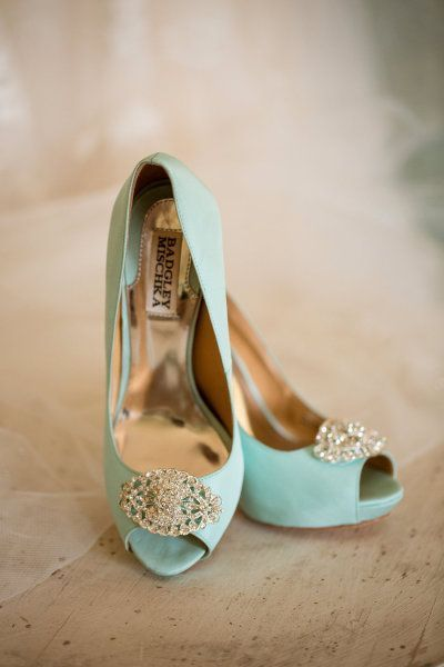 Mint with toe jewels #wedding shoes.Get inspired at diyweddingsmag.com