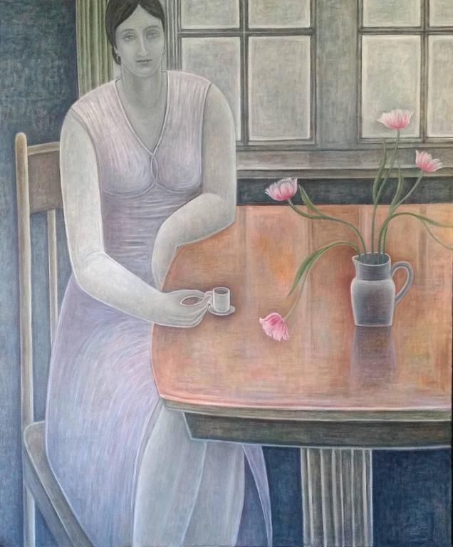 Ruth Addinall (1960-) - Woman With Small Cup, 2015