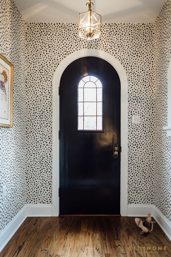 Door and wallpaper