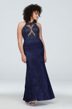4a04eabd315 Corded Lace Stretch Taffeta Plus Size Halter Dress