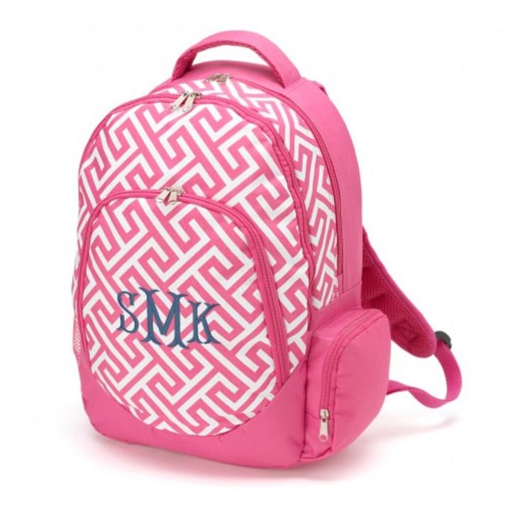 A personal favorite from my Etsy shop https://www.etsy.com/listing/261783104/pink-greek-key-personalized-backpack