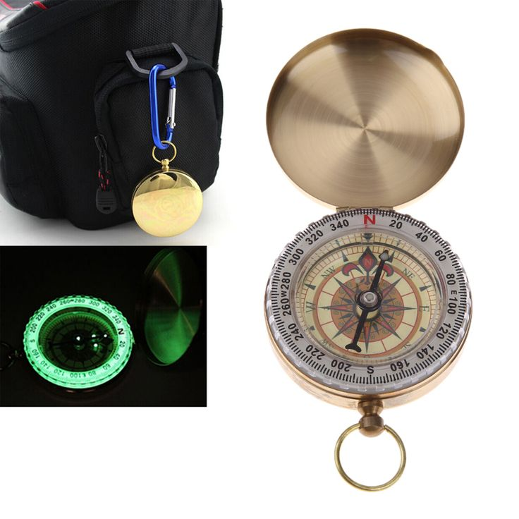 Outdoor Camping Compass Portable Brass Pocket Golden Compass Navigation Hiking Travel Kit