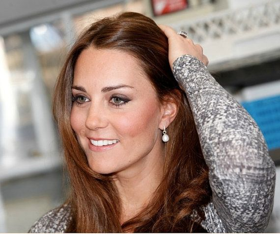 11mm X 8mm Pear Shape Fresh Water Pearl Earring Charms (hoop earrings NOT included). Kate Middleton.