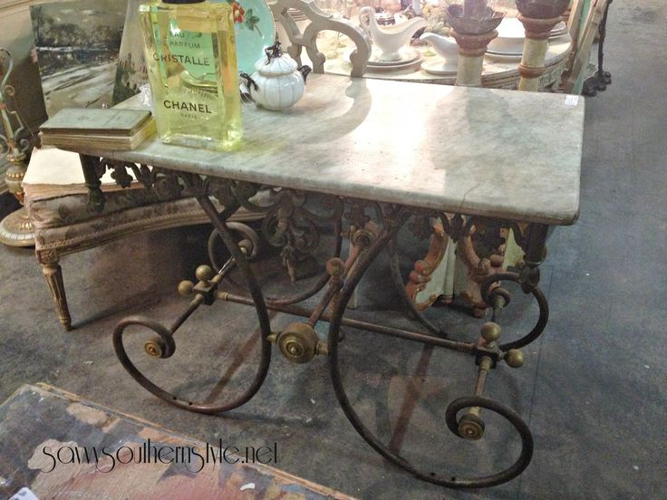 Antique Marble Topped French Pastry Shop Table   Glorious! Savvy Southern  Style: Antiquing In Destin Part I