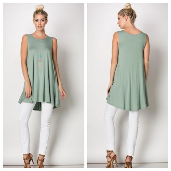 CCO SALESoft Moss Green Jersey Knit  Tunic Soft Moss Green Jersey Knit Sleeveless Staple Tunic  Soft jersey knit staple tunic with round neck top. 95% Viscose, 5% Spandex. Made in the USA. Available in cream or moss green. 2/1/1 TLI1403C433-2 Tops Tunics