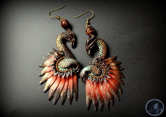 Unique bronze effect dragon earrings!  ✽ Perfect as a gift!   ✽ Size height: 8.0 cm [3.1 in] width: 4.5 cm [1.7 in] ✽ lightweight:  9.5 gr  -If you have any questions Please just ask!  ✈ shipping method: -I send my parcels with tracked and signed service :) ✽  You can read more informations about this item on FAQ below   My blogspot: http://artystycznewariacje.blogspot.co.uk/  or visit my fanpage FACEBOOK:  https://www.facebook.com/ArtystyczneWariacje  Important! Please use my products with…