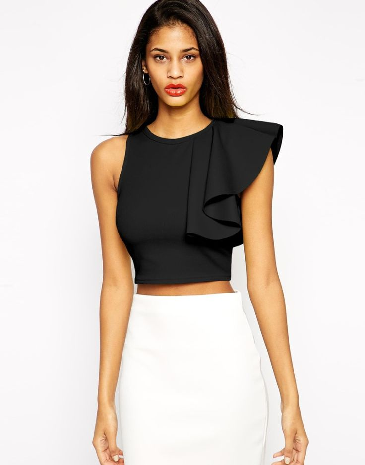 Black crop Top in Texture with One Shoulder Ruffle, ASOS, €38.35 with white pencil skirt. Buy it here: http://justbestylish.com/10-best-crop-tops-for-summer-2015/4/
