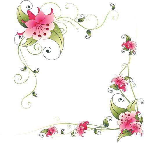 Digital Stamp Design Flourish Rose Border Corner Clip Art: Flower Corner Design