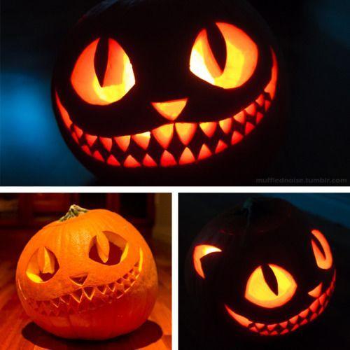 My Halloween pumpkin, The Cheshire Cat! I wanted... | mufflednoise * tumblr