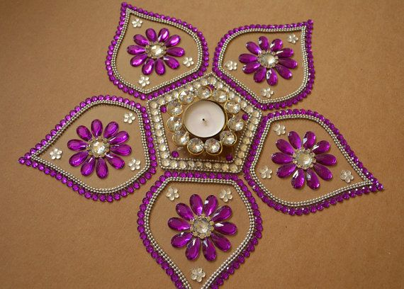 Diwali Rangoli Diwali Table Decor Rangoli in Purple White by Likla, $35.00