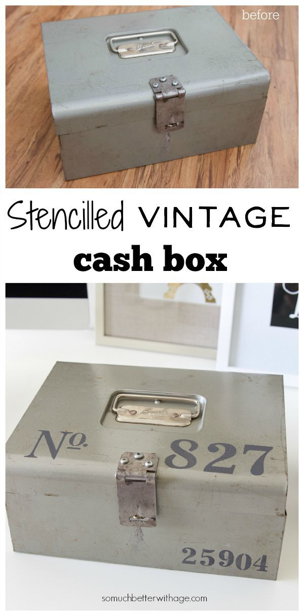 Stencilled Vintage Cash Box   So Much Better With Age