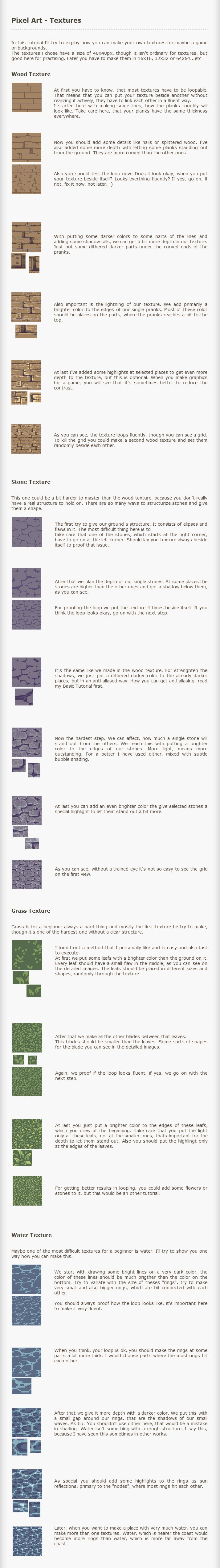 http://kiwinuptuo.deviantart.com/art/Pixel-Art-Tutorial-Textures-203459613