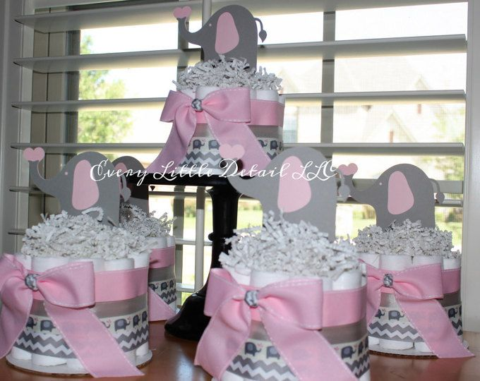 Pink and Gray Elephant Mini Diaper Cake Bundle; Pink and Gray Elephant Baby Shower Decorations; Pink and Gray Chevron Centerpieces