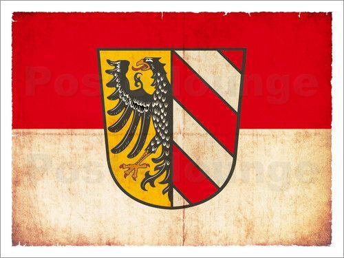 Christian Müringer Illustration Art - Flagge von Nürnberg im Grunge-Stil