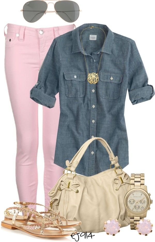 Pink pants, chambray, gold
