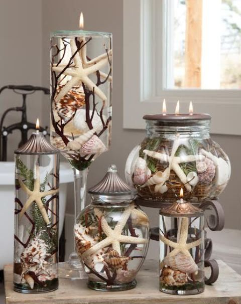 Natural shells are sealed inside the glass decorative container