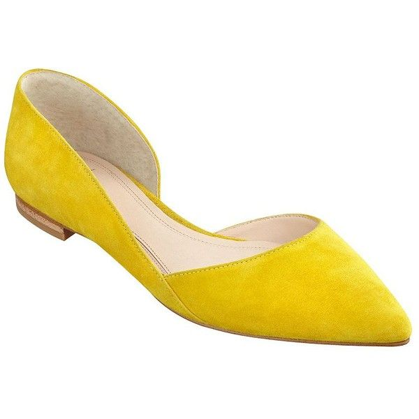 Marc Fisher Ltd Sunny Suede Flats ($130) ❤ liked on Polyvore featuring shoes, flats, yellow, suede shoes, slip-on shoes, suede pointed toe flats, flat pumps and suede flat shoes